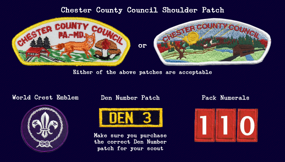 Cub Scout Pack 110 Required Uniform Patches